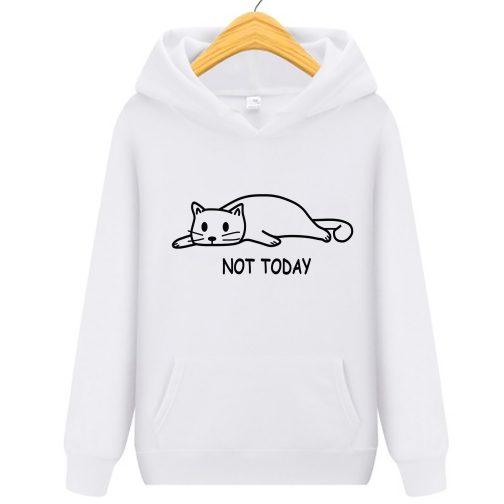 not today damska bluza kapturem kotem kotkiem biała