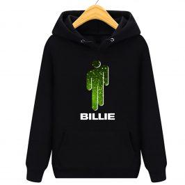bluza z kapturem billie eilish dla dzieci – z zielonym ludzikiem i napisem Billie