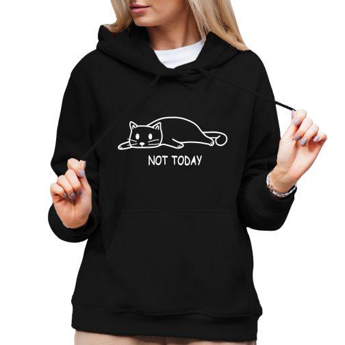 not today damska bluza kapturem kotem kotkiem czarna