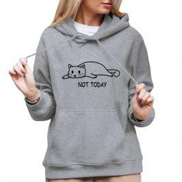 Not Today – Damska bluza z kotem -bluzy typu kangurka z kapturem