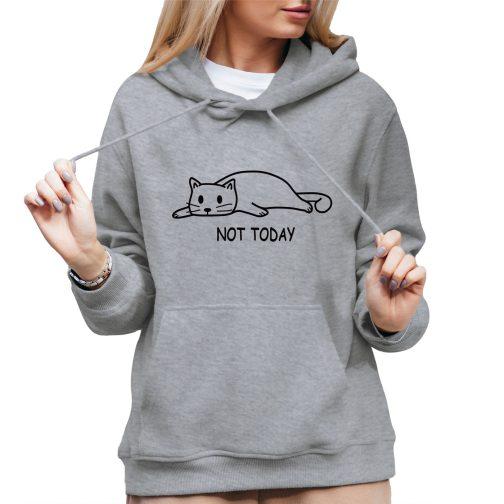 not today damska bluza kapturem kotem kotkiem szara