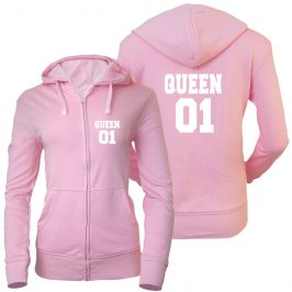 QUEEN 01 – Królowa 01 –  bluza damska rozpinana z kapturem