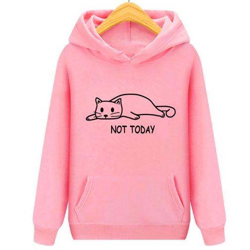 not today damska bluza kapturem kotem kotkiem różowa