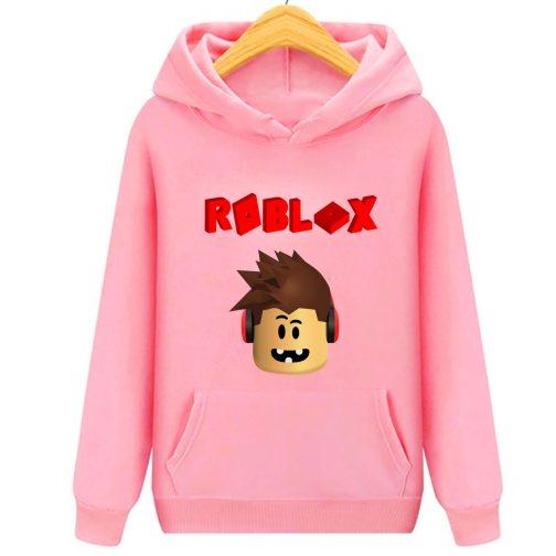 bluza roblox 3d dziecka z kapturem kangurka różowa