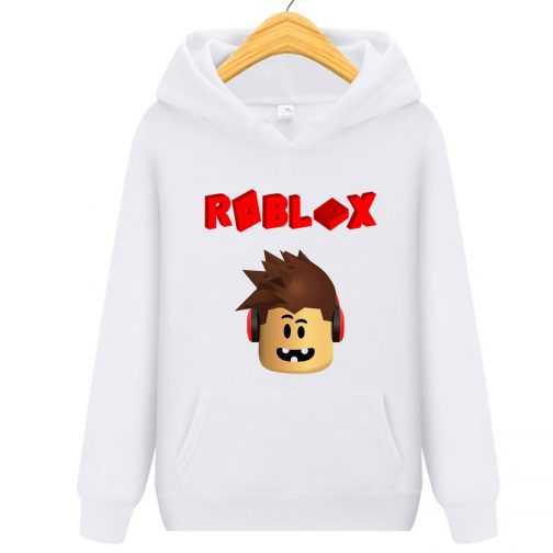 bluza roblox 3d dziecka z kapturem kangurka biała