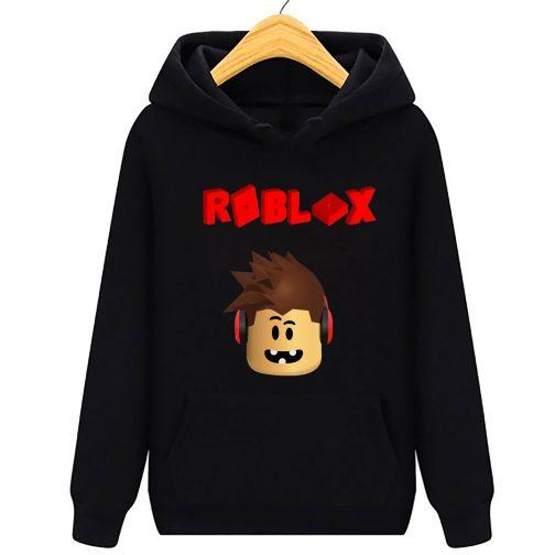 bluza roblox 3d dziecka z kapturem kangurka czarna