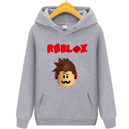 bluza roblox 3d dziecka z kapturem kangurka szara