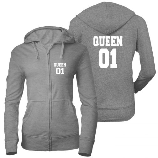 bluza damska rozpinana zamek queen 01 królowa szara