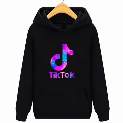 Tik Tok - Trendy bluza czarna dziecięca młodzieżowa z kapturem