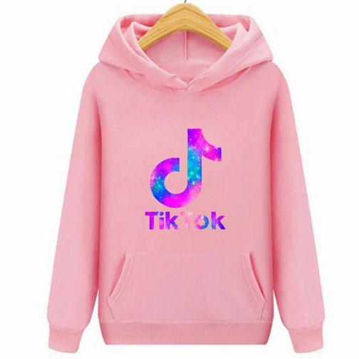 Tik Tok - Trendy bluza różowa dziecięca młodzieżowa z kapturem