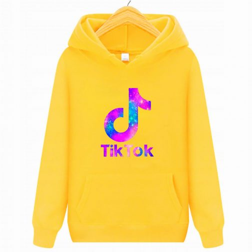 Tik Tok - Trendy bluza żółta dziecięca młodzieżowa z kapturem