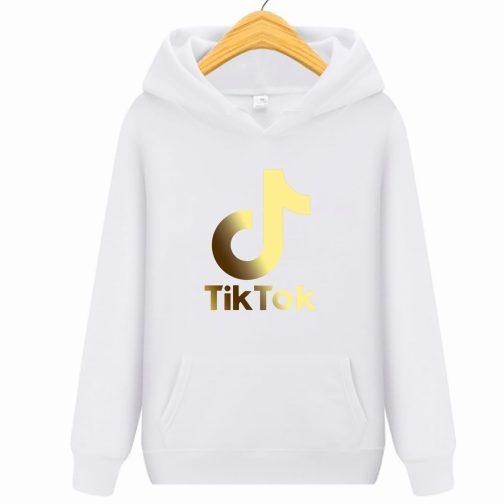 Złoty Tik Tok GOLD bluza biała dziecięca młodzieżowa z kapturem,