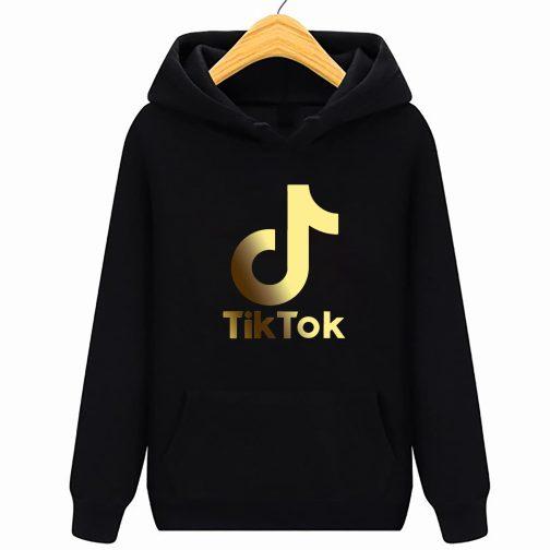 Złoty Tik Tok GOLD bluza czarna dziecięca młodzieżowa z kapturem,
