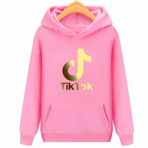 Złoty Tik Tok GOLD bluza różowa dziecięca młodzieżowa z kapturem,