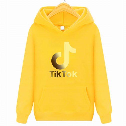 Złoty Tik Tok GOLD bluza żółta dziecięca młodzieżowa z kapturem,