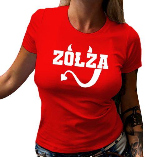 Zołza koszulka czerwona damska T-shirt dla zołzy