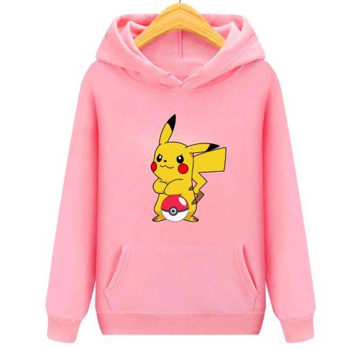 bluza pikachu dla dzieci - bluza z kapturem dla dzieci różowa