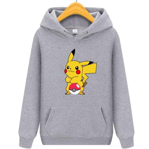 bluza pikachu dla dzieci - bluza z kapturem dla dzieci szara