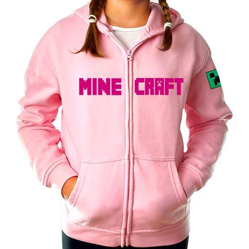 bluza minecraft creeper różowa dla dziewczynki rozpinana z kapturem