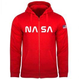 NASA Bluza męska rozpinana na zamek z kapturem czerwona