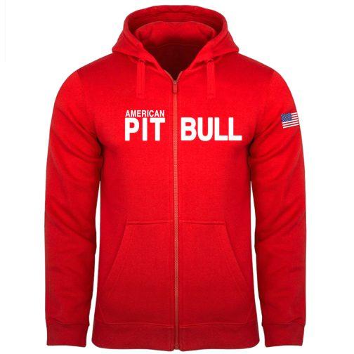 pitbull pit bull bluza męska rozpinana z kapturem czerwona