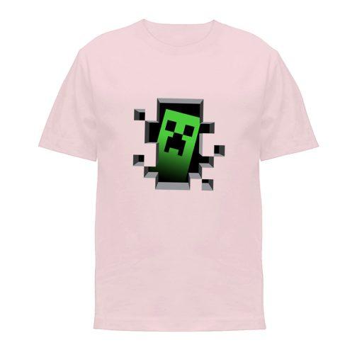 koszulka minecraft creeper koszulki dla dzieci różowa