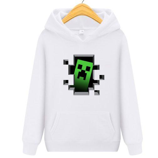 bluza minecraft creeper - bluzy dla dziecka z kapturem biała
