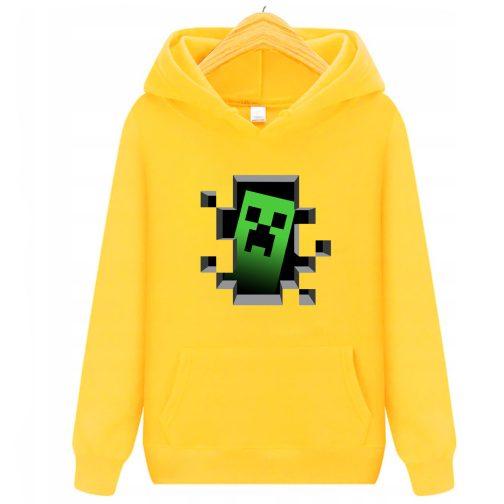 bluza minecraft creeper - bluzy dla dziecka z kapturem żółta