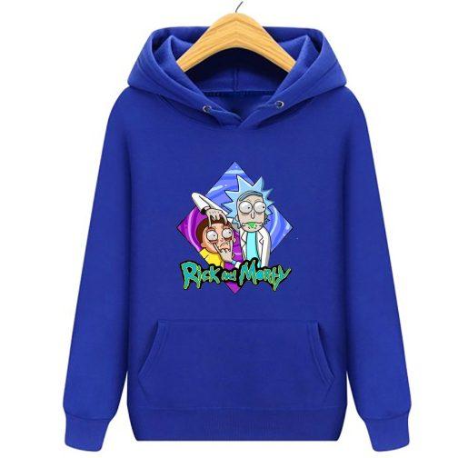 bluza rick and morty dla dzieci dziecka kapturem niebieska