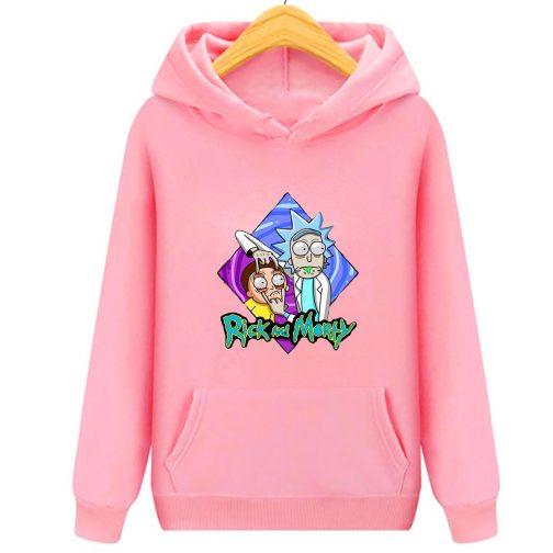 bluza rick and morty dla dzieci dziecka kapturem różowa